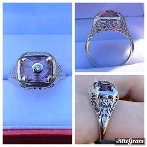 RARE vintage  $5066 14k amethyst/diamond ring!!!!!